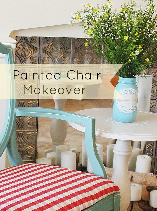 painted chair makeover using Annie Sloan Provence chalk paint