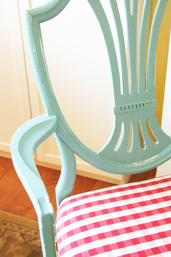 Provence blue chair with red buffalo check seat