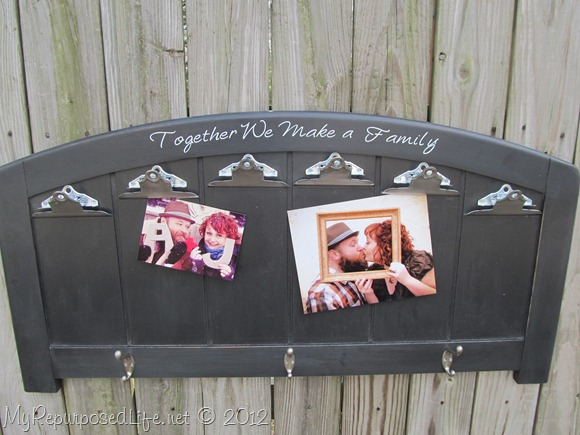 repurposed headboard photodisplay