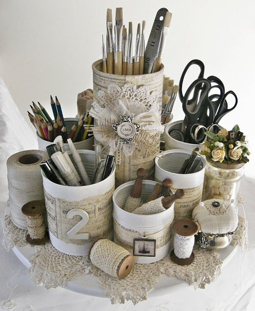 shabby chic tin can caddy