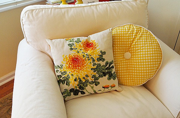 yellow gingham pillow from Ikea