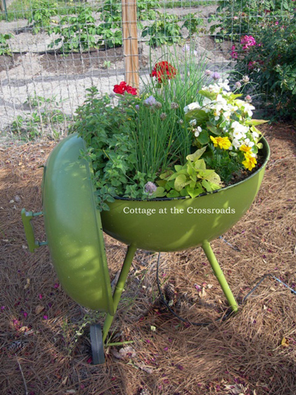 Creative garden container ideas - grill used as a container to plant in from Cottage at the Crossroads