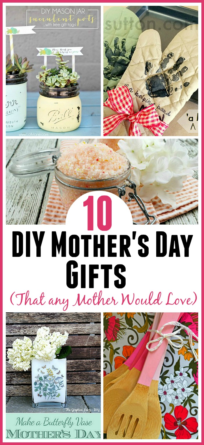 DIY Mother's Day Gift Ideas (most are super easy to do)! A handmade gift is always a big hit with mothers and grandmothers! DIY gift ideas, easy crafts, homemade gifts for moms, DIY projects