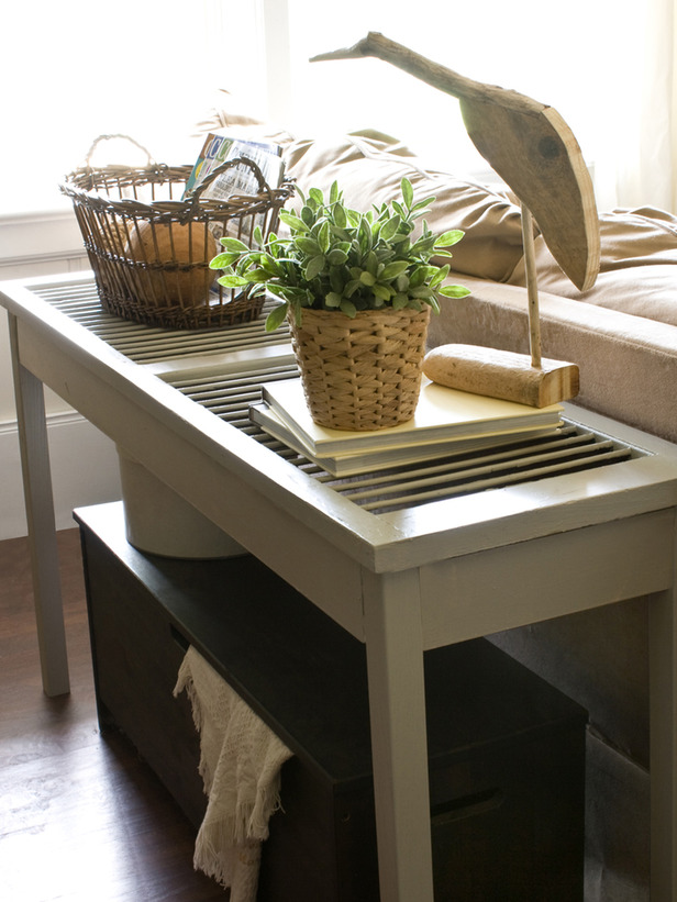 Repurpose old shutters: shutter sofa table