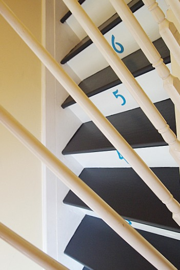 black and white steps with turquoise numbers on risers