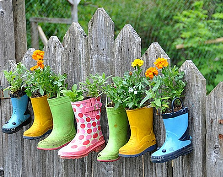 rubber boots used as planters