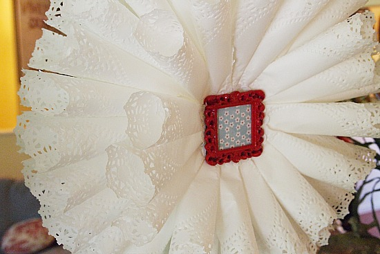 center of doily wreath
