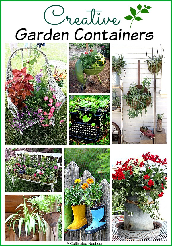 """Creative garden containers. All kinds of things that are considered """"junk"""" could be repurposed into fun and interesting containers for your garden or patio."""