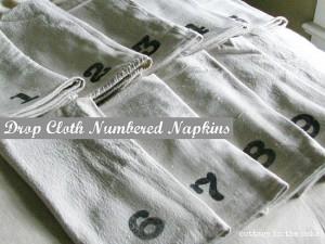 DIY Saturday – Drop Cloth Numbered Napkins