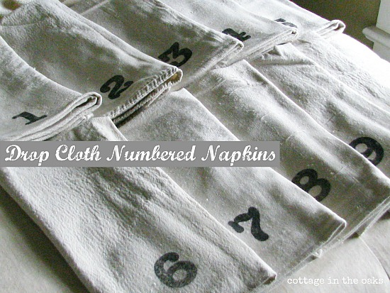 diy drop cloth numbered napkins