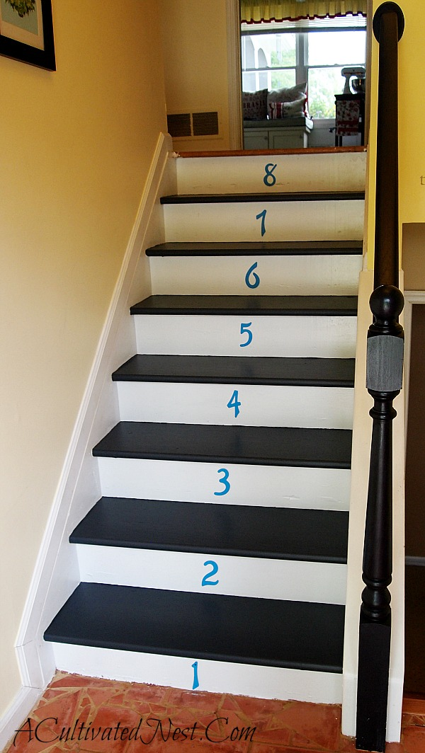 painted steps with numbers on the risers