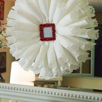 paper doily wreath