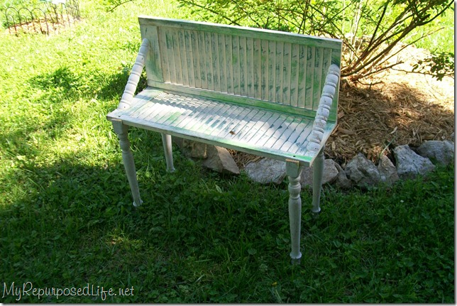 repurposed shutters into a bench