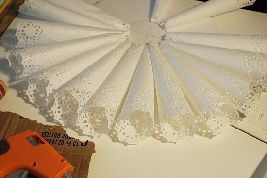 rolled doily cones