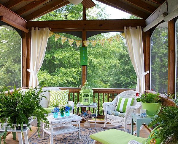 Join me in the screened porch a cultivated nest for Patio decoration images