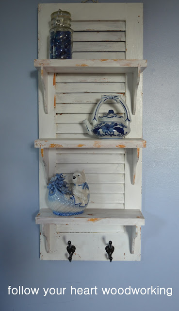 shutters repurposed as shelves
