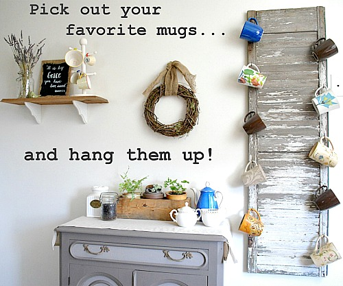 Repurpose Old Shutters: make a shutter mug rack