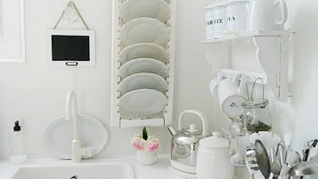 shutter upcycled into a plate rack
