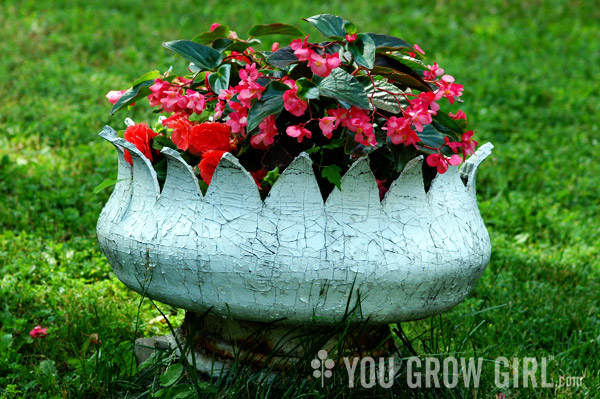 Creative garden container ideas - tire planter from You Grow Girl