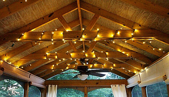 Christmas lights in the rafters of the screened porch & Join Me In The Screened Porch - A Cultivated Nest
