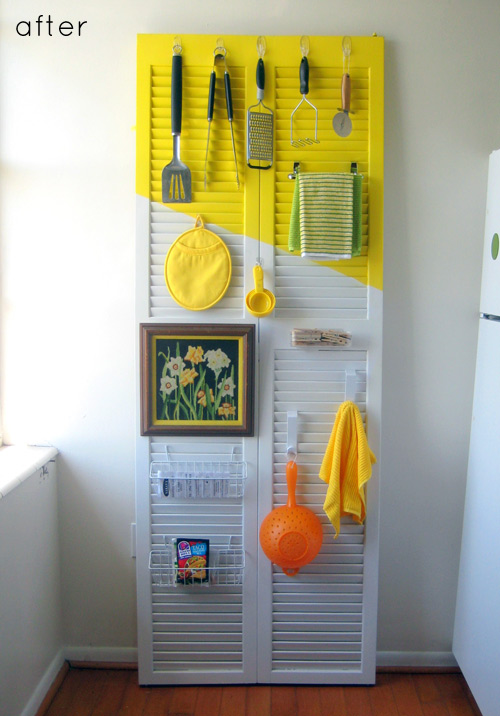 upcycled shutter into kitchen organizer
