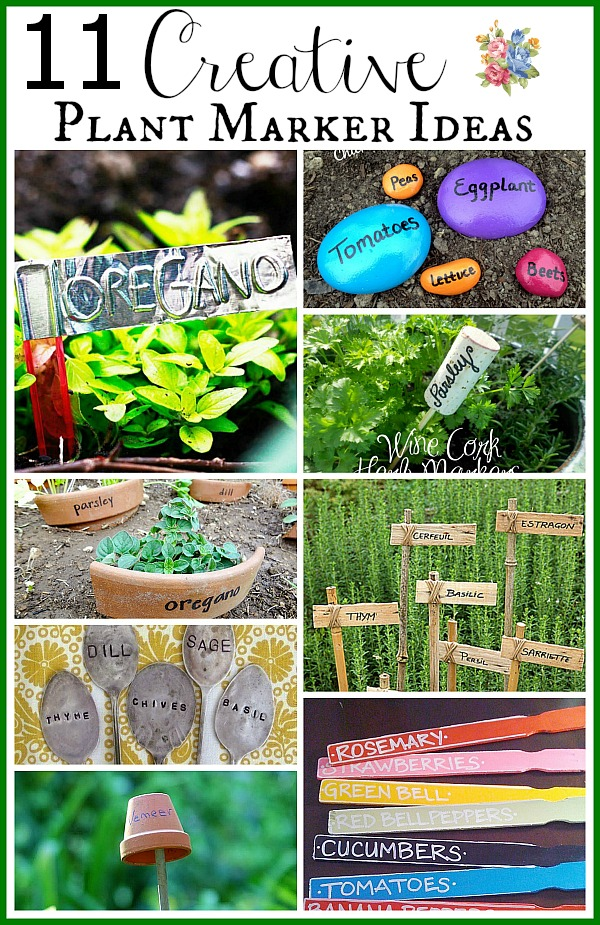 11 Creative Plant Marker Ideas- There's no need to spend money on boring commercial garden markers if you have some basic DIY skills. Instead, check out these cute and clever DIY plant marker ideas! They'll help you decorate and organize your garden at the same time! | how to label plants in your garden, ideas for making plant markers, label your herbs #gardening #DIY #garden #craft