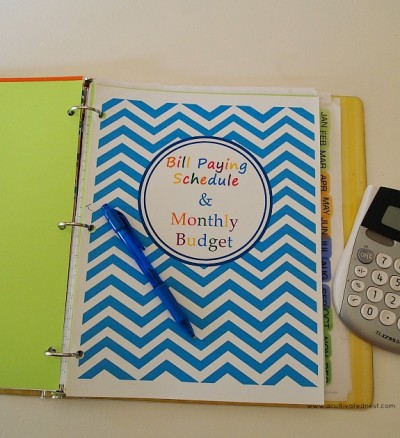 How to make a budget binder - Bill Paying Schedule