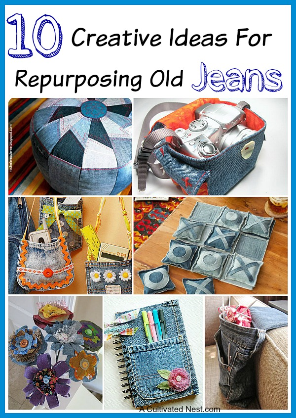 10 Creative Ideas for repurposing old jeans - don't throw out those old jeans. Check out these ideas!
