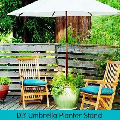 DIY umbrella planter stand