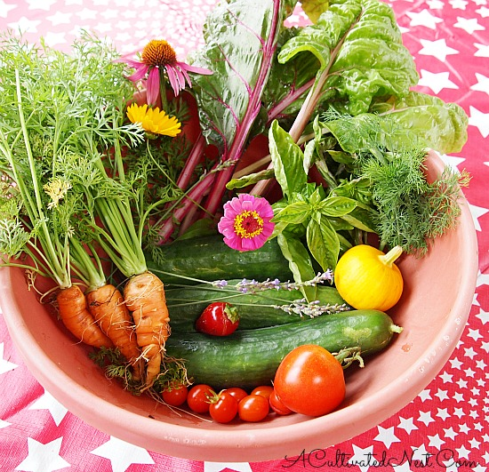 acultivatednest.com bowl of homegrown vegetables