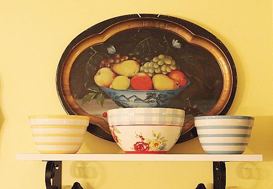 colorful bowls on a shelf