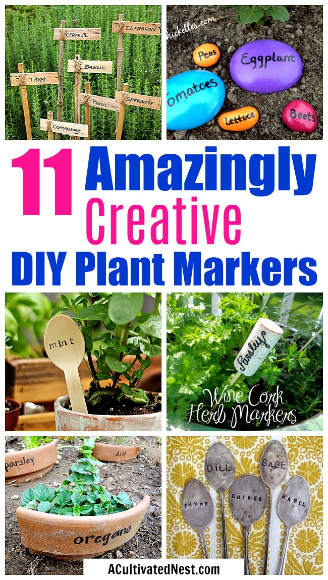 11 Creative Plant Marker Ideas- You can organize and decorate your garden at the same time, if you have pretty plant markers! Check out these 11 DIY plant markers for some great inspiration! | how to label plants in your garden, ideas for making plant markers, label your herbs, garden markers, #gardening #DIY #garden #craft
