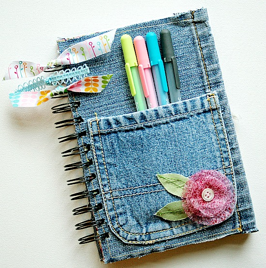 Creative ideas for repurposing old jeans like this denim covered journal