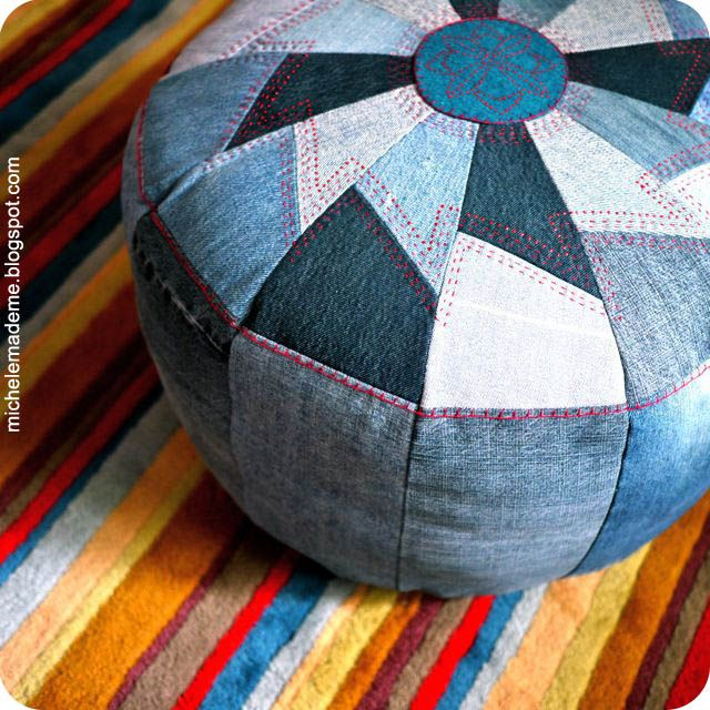 Great ideas for repurpsoing old jeans like making this denim pouff!