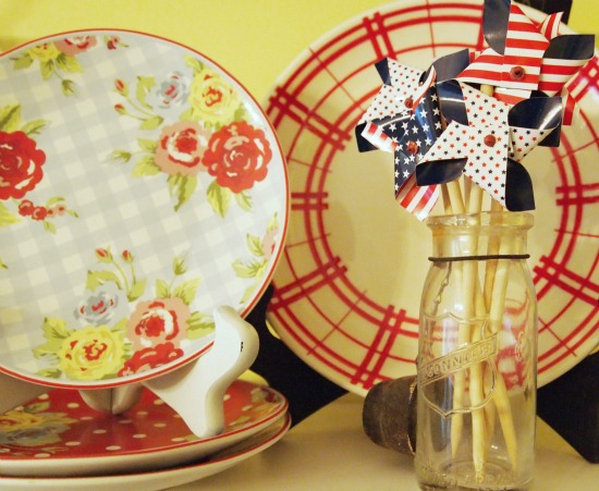 a cultivated nest floral plates & flag pinwheels