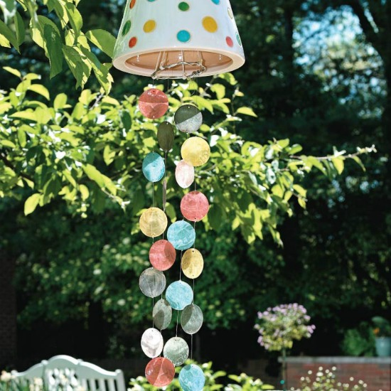8 Creative DIY Wind Chime Ideas like this cute flower pot wind chime!