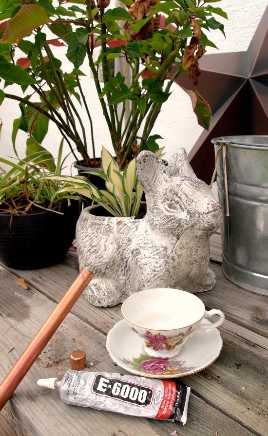 materials needed for diy teacup birdfeeder
