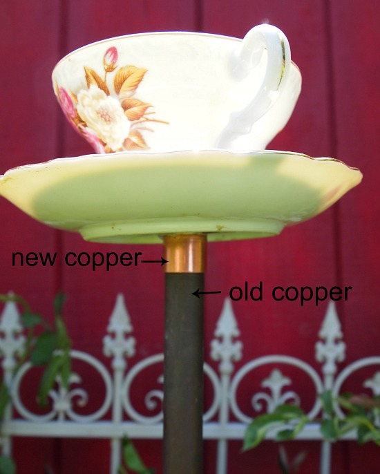 example of new and old copper pipe for birdfeeder