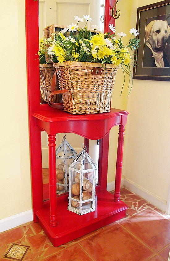 foyer decorated for summer with thrift store finds