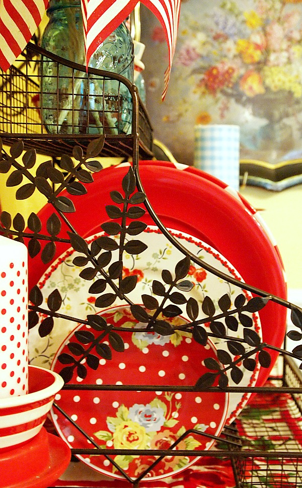 A Cultivated Nest various red plates on display