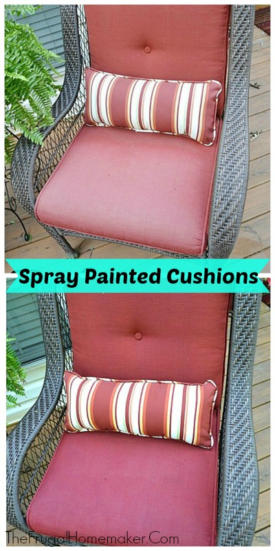 The Frugal Homemaker spray painted outdoor cushions