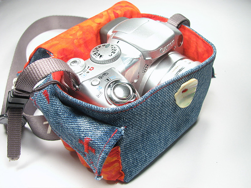 upcycled jeans made into a camera bag