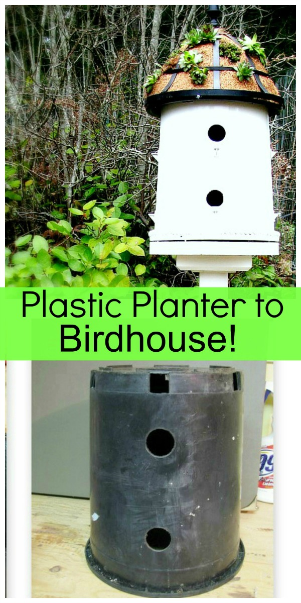 upcycle a black plastic planter pot into a birdhouse