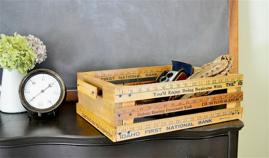 Who knew you could make so many cute things with rulers! Creative ideas for repurposing rulers like this crate-covered-in-yardsticks