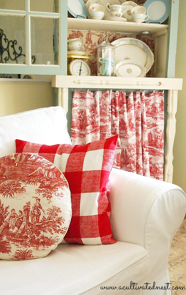 DIY Red Toile Skirted China Cabinet - A Cultivated Nest