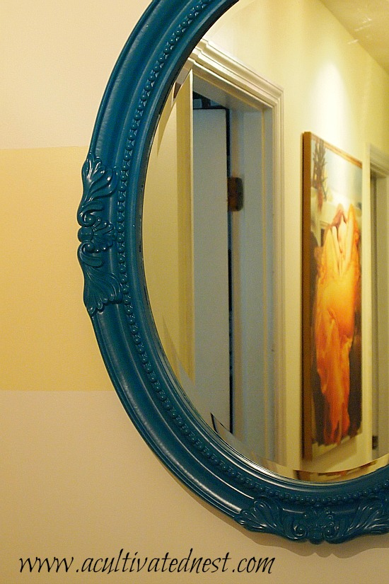 mirror painted in Rust-Oleum Lagoon
