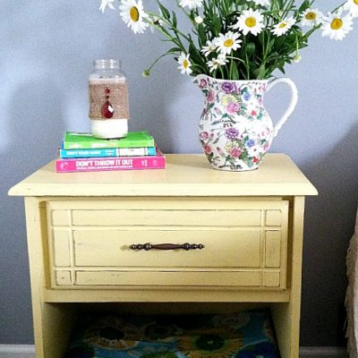 painted Goodwill nightstand Makeover