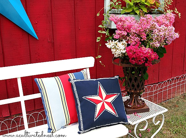 red white & blue outdoor pillows