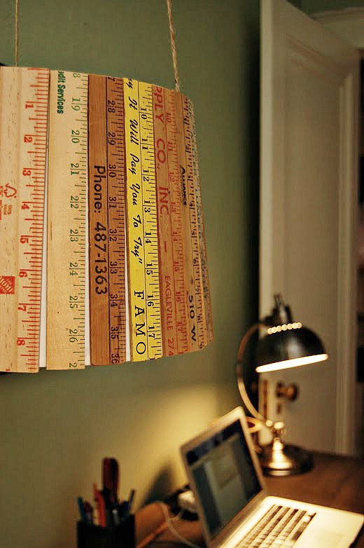 Who knew you could make so many cute things with rulers! Creative ideas for repurposing rulers like this ruler lampshade!