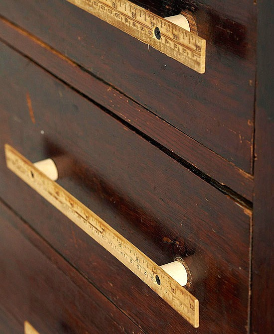 Repurposed ruler projects - ruler-upcycled-as-cabinet-hardware